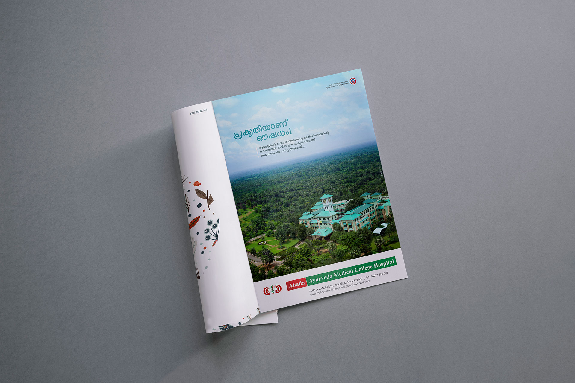 A magazine page displays the printed advertisment of Ahalia - Nature is Medicine Print ad on Magazine campaign