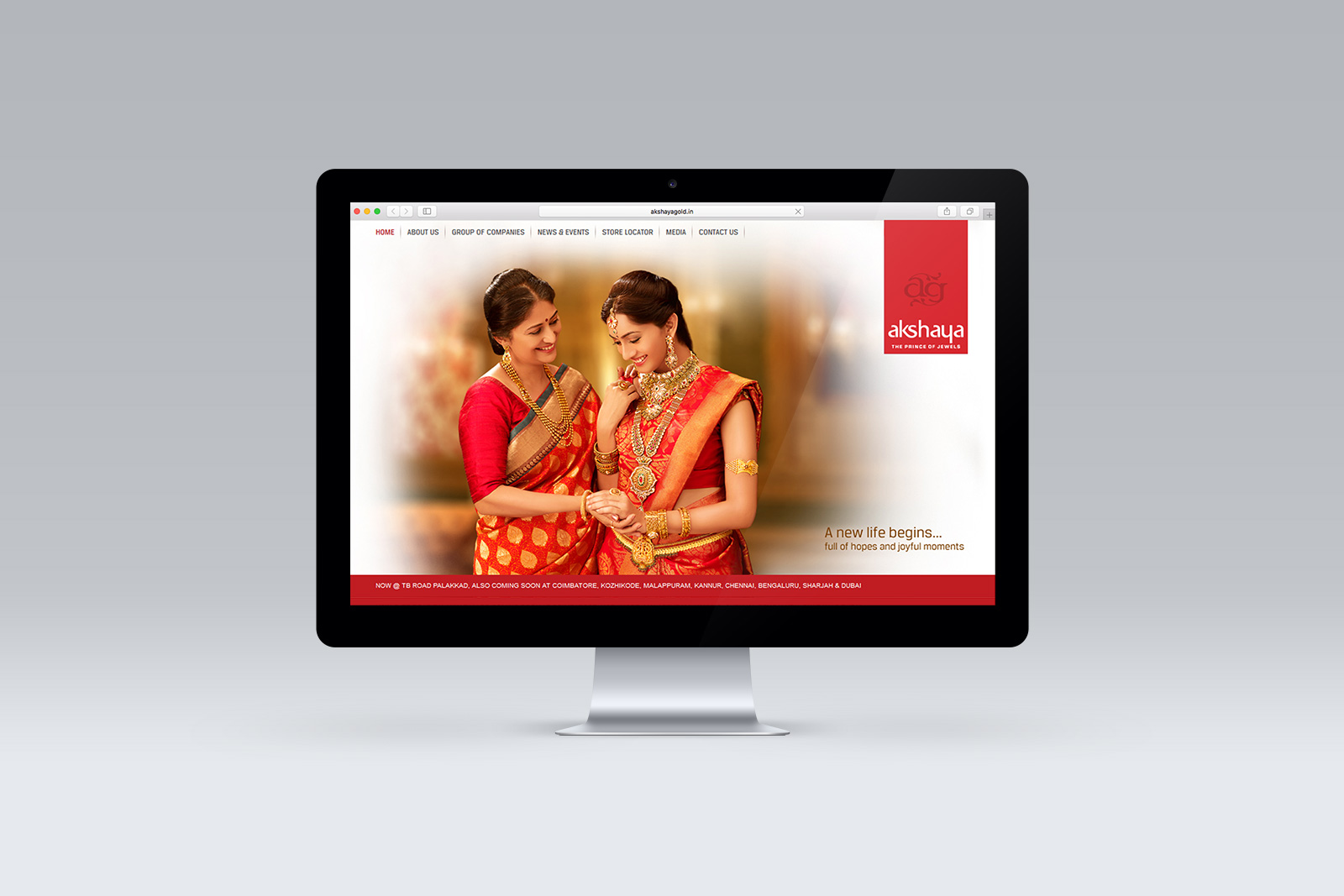 Akshaya Gold & Diamonds Website displayed on an iMac Screen