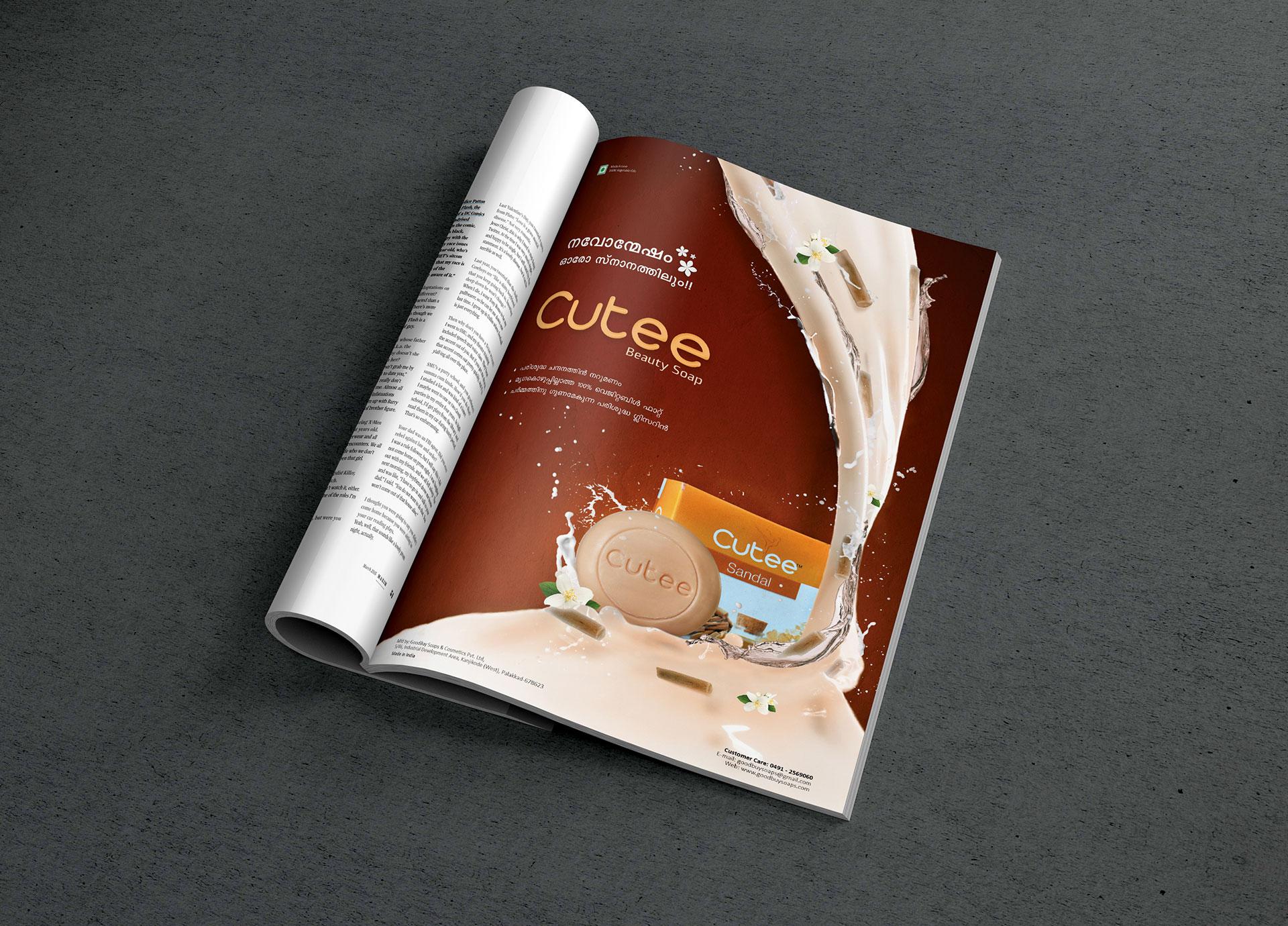 Cutee Soaps Magazine ad design