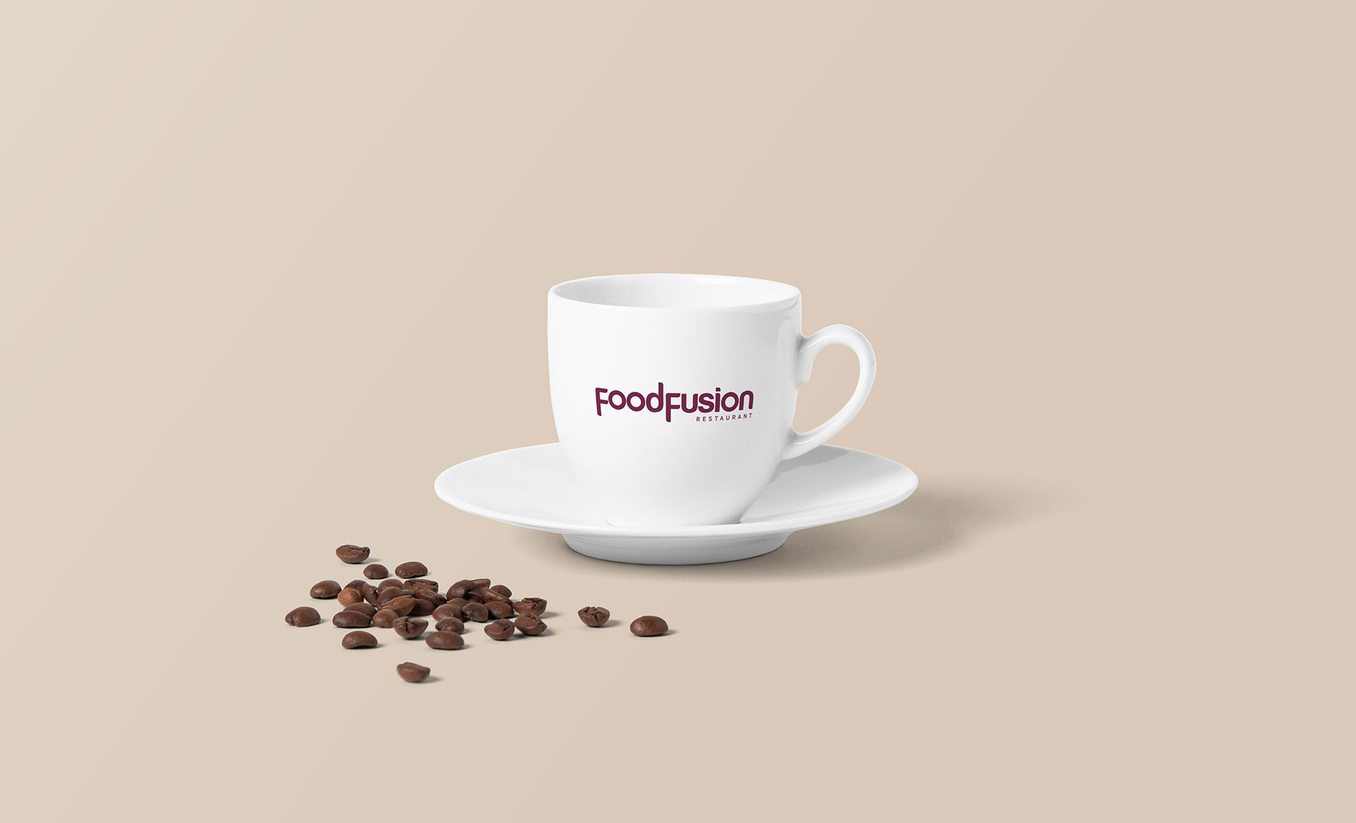FoodFusion Restaurant Logo on cofee cup