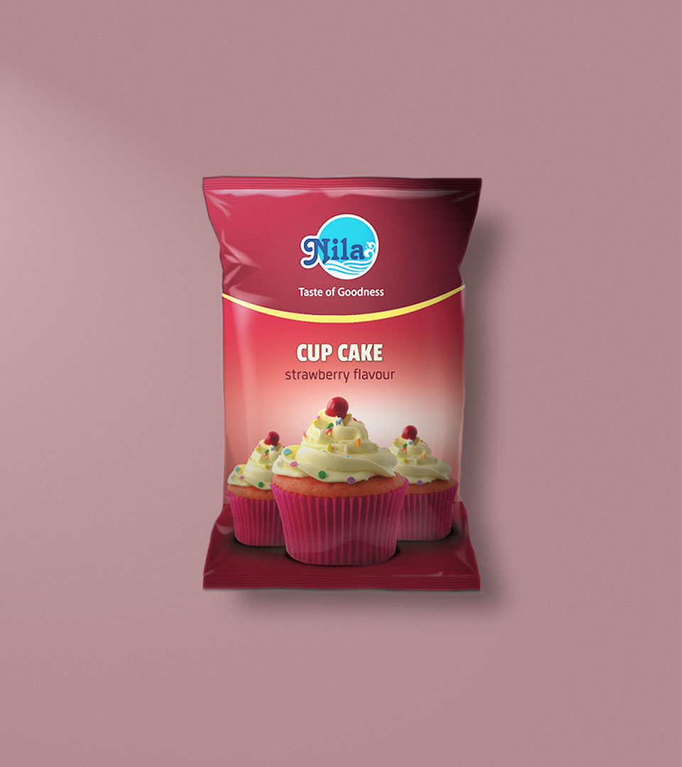 Package of Nila Bakes Strawberry flavour Cup Cake Package