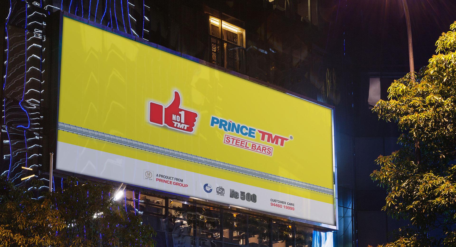 A billboard displaying the design of Prince TMT Steel Bars - Number 1 TMT Branding design